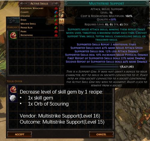 Decrease level of skill gem by 1 recipe