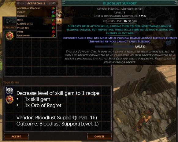 Decrease level of skill gem to 1 recipe