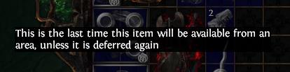 Deferred item comes back