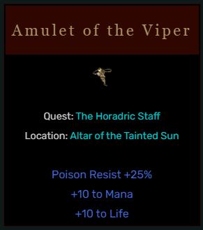 Diablo 2 Amulet of the Viper