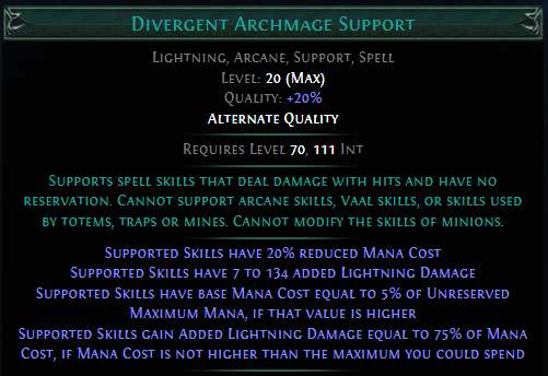 Divergent Archmage Support PoE