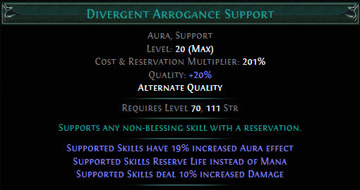 Divergent Arrogance Support PoE