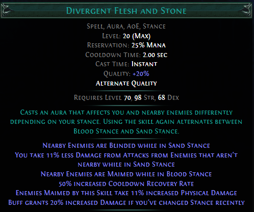 Divergent Flesh and Stone PoE