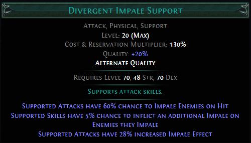 Divergent Impale Support PoE