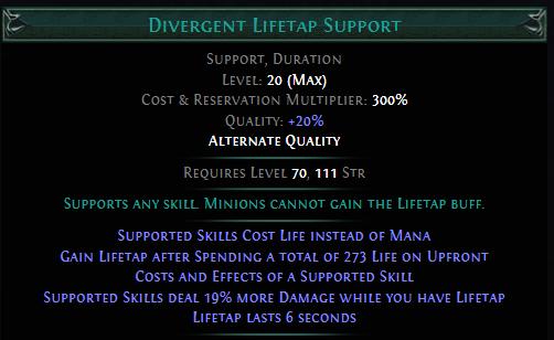 Divergent Lifetap Support PoE