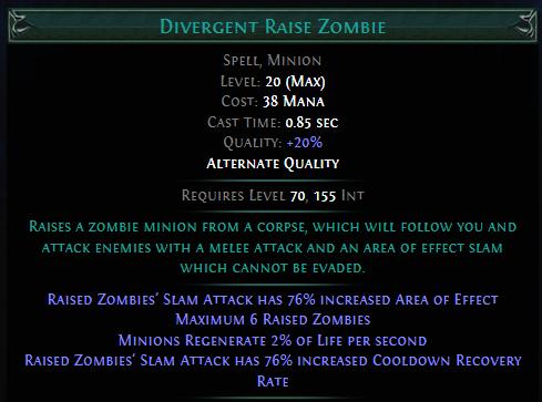 Divergent Raise Zombie PoE