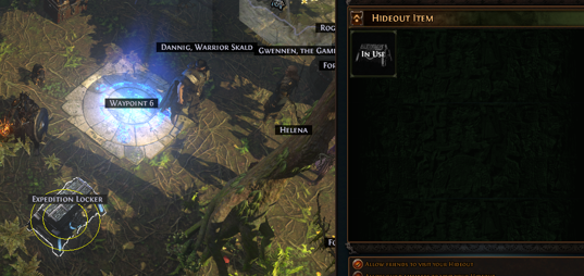 Drag the Expedition Locker into your hideout