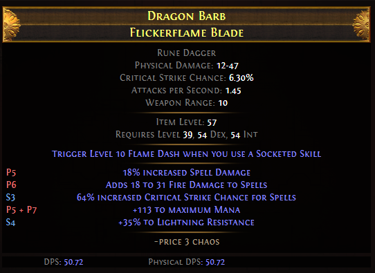 Dragon Barb Flickerflame Blade