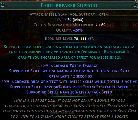 Earthbreaker Support Level 20 with 20% quality