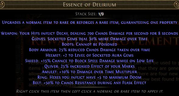 Essence of Delirium PoE
