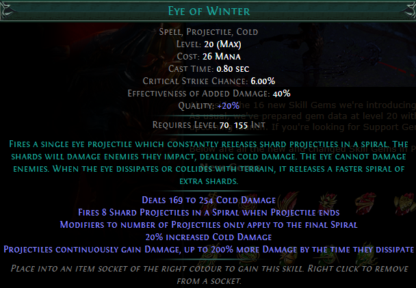 Eye of Winter Level 20 with 20% quality