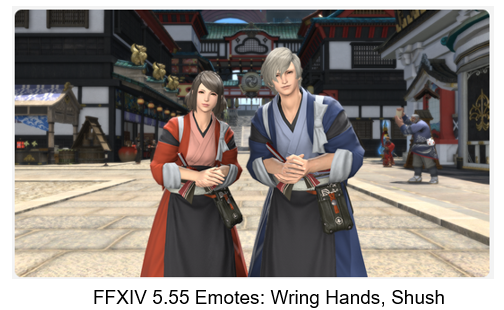 FFXIV 5.55 Emotes: Wring Hands, Shush