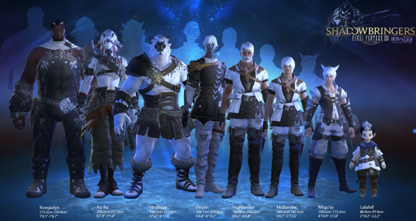 FFXIV Male Race Heights