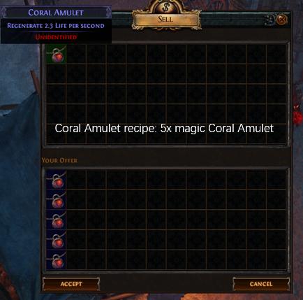 Five magic Coral Amulet recipe