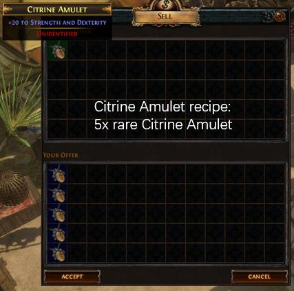 Five rare Citrine Amulet recipe