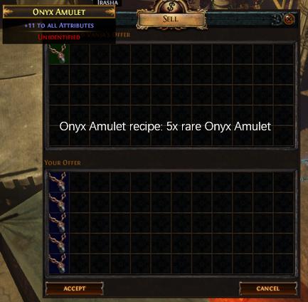 Five rare Onyx Amulet recipe