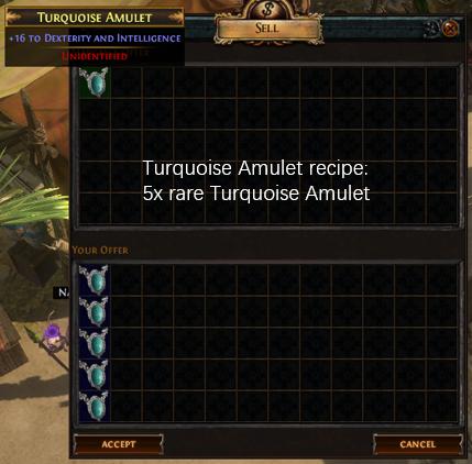 Five rare Turquoise Amulet recipe