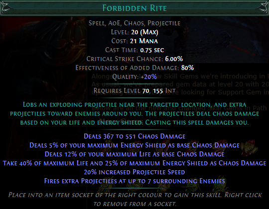 Forbidden Rite Level 20 with 20% quality