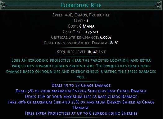 Forbidden Rite PoE