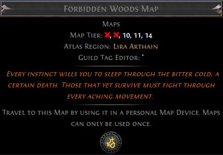 Forbidden Woods Map PoE