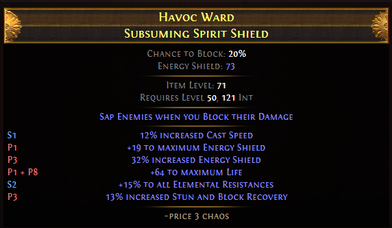 Havoc Ward Subsuming Spirit Shield