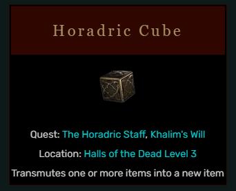 Diablo 2 Horadric Cube