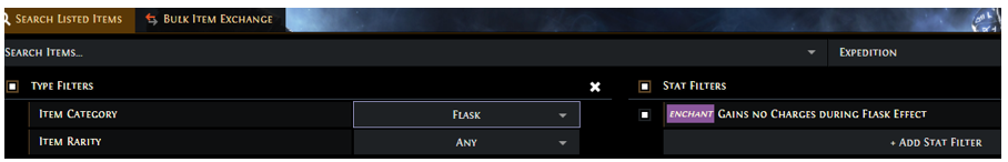How to search for Enkindling Orb Enchanted Flask