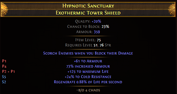 Hypnotic Sanctuary Exothermic Tower Shield