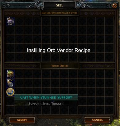 Instilling Orb Vendor Recipe