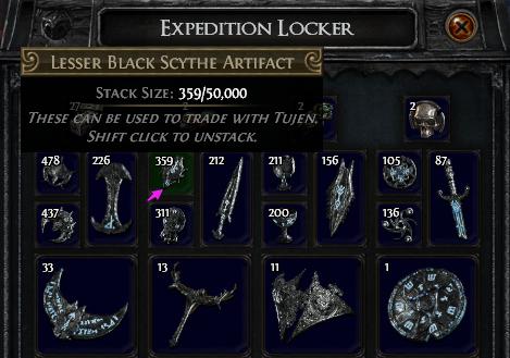 Lesser Black Scythe Artifact PoE
