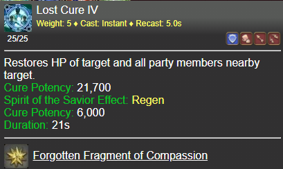 Lost Cure IV FFXIV