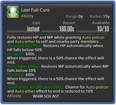 Lost Full Cure FFXIV