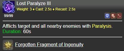 Lost Paralyze III FFXIV