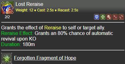 Lost Reraise FFXIV