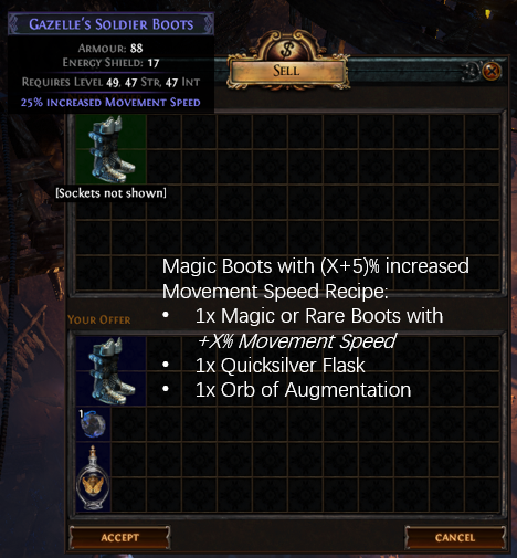 Magic Boots with (X+5)% increased Movement Speed Recipe