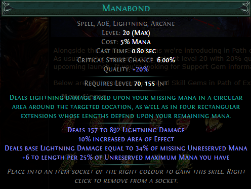 Manabond Level 20 with 20% quality