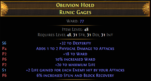 Oblivion Hold Runic Gages