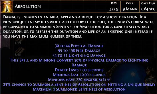 PoE Absolution Buff Scaling