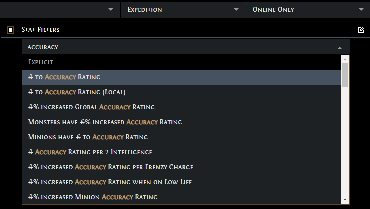 PoE Accuracy Rating items
