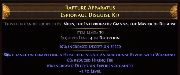 Rapture Apparatus Espionage Disguise Kit