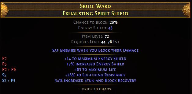 Skull Ward Exhausting Spirit Shield