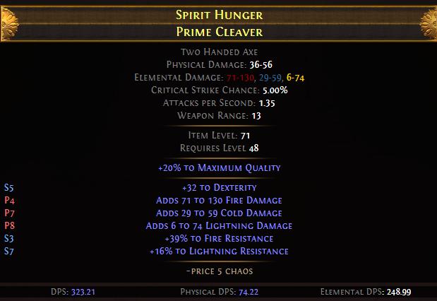 Spirit Hunger Prime Cleaver