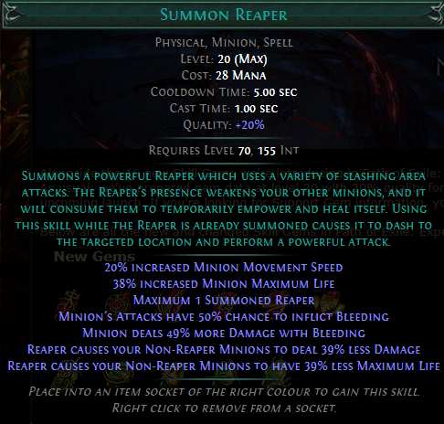 Summon Reaper Level 20 with 20% quality