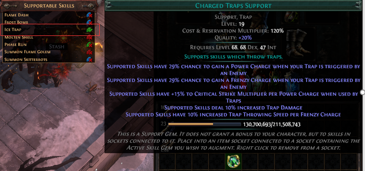 Support a socketed Skill Gem