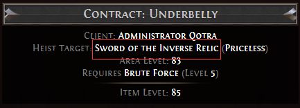 Sword of the Inverse Relic Contract