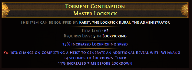 Torment Contraption Master Lockpick