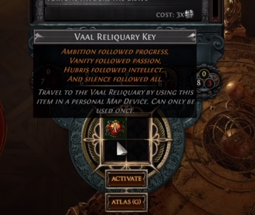 Vaal Reliquary Key Map Device