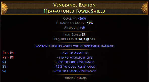 Vengeance Bastion Heat-attuned Tower Shield