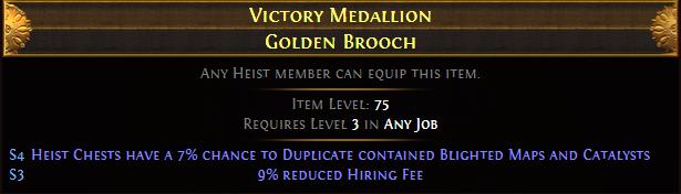 Victory Medallion Golden Brooch