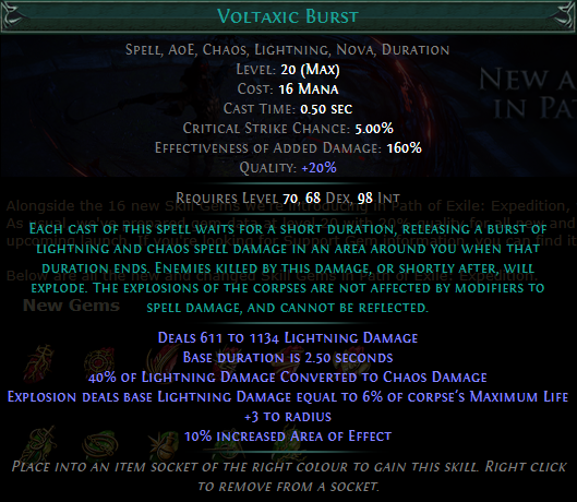 Voltaxic Burst Level 20 with 20% quality